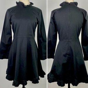 Zara Mini Black Dress Ruffles Long Sleeve Cotton M